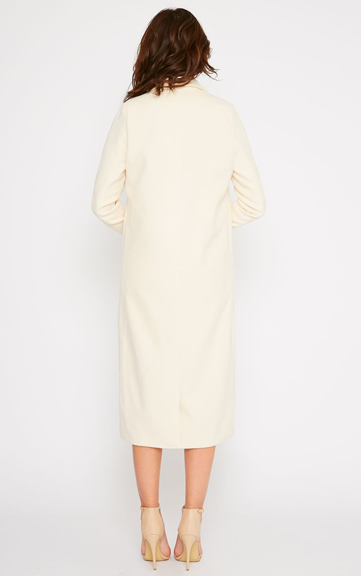 Salana Cream Longline Double Breasted Coat  2