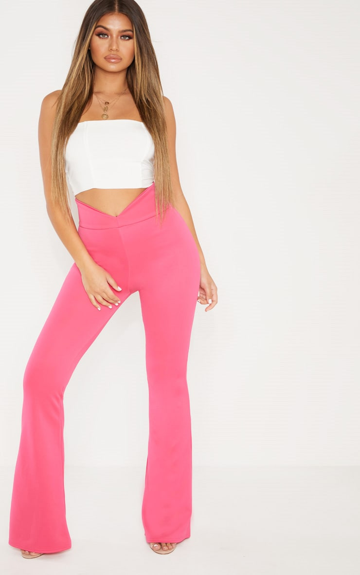 Pink Curve Waist Band Detail Flared Pants 1