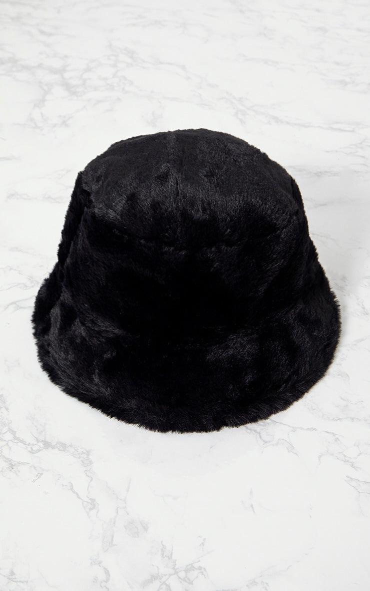 Black Fluffy Bucket Hat 3