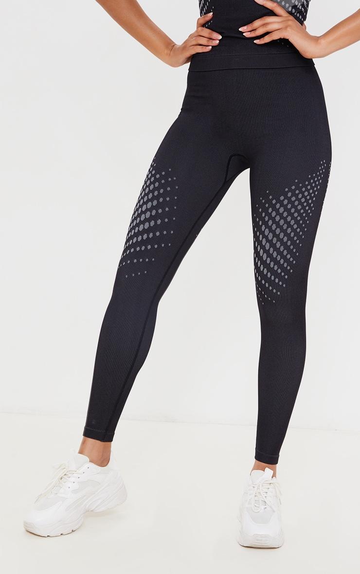 Legging noir sans coutures détail contours pois sur les cuisses 2