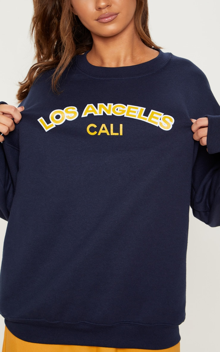 Navy Los Angeles Slogan Sweater 5