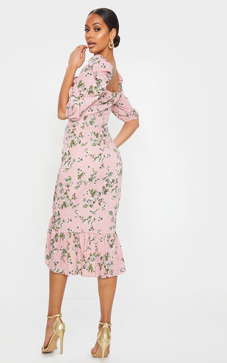 Dusty Pink Floral Ruched Front Frill Hem Midi Dress 2