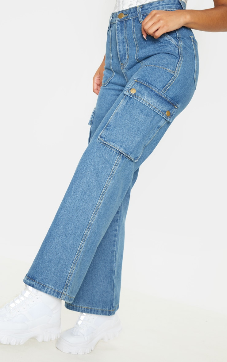 Mid Wash Cargo Baggy Wide Leg Cropped Jeans 5