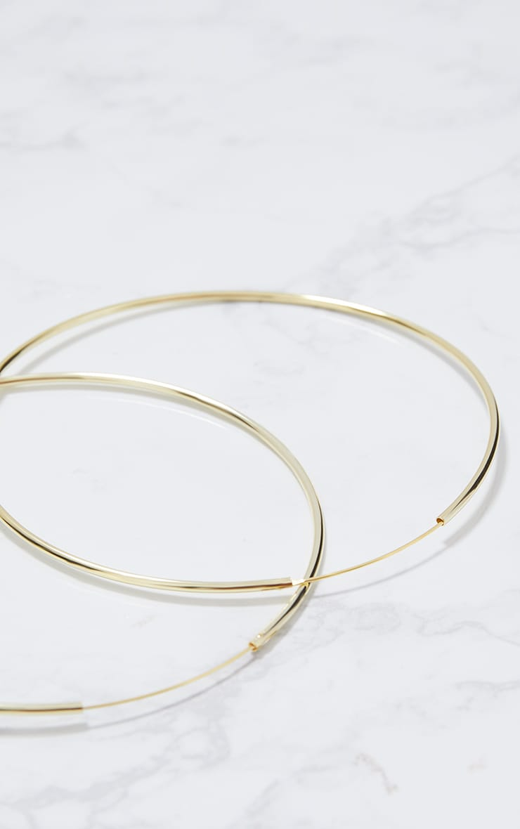 Gold Plated Sterling Silver 100mm Large Hoop Earrings 5