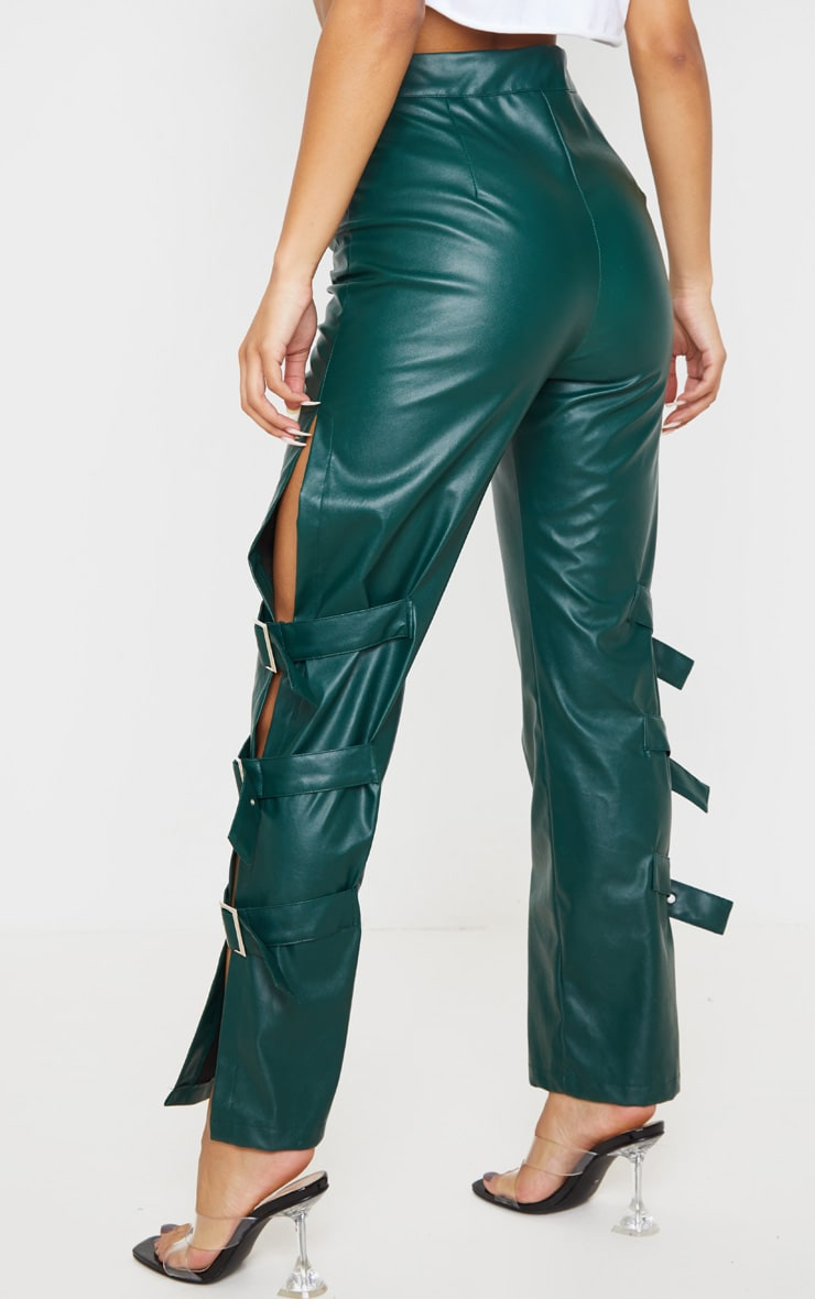 Emerald Faux Leather Buckle Strap Detail Pants 4
