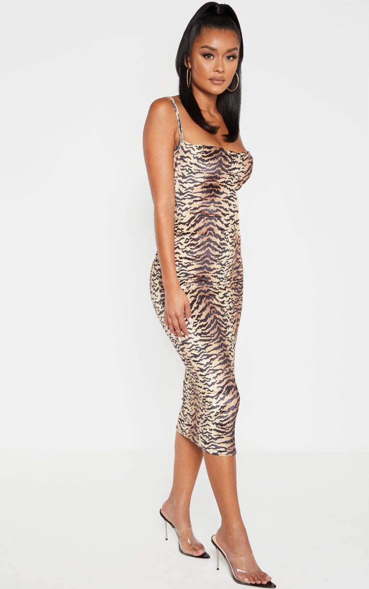 Brown Velvet Strappy Tiger Print Midi Dress 3