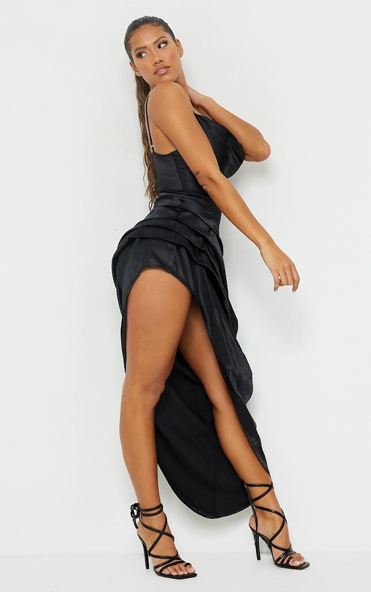 Shape Black Satin Cowl Side Split Ruched Maxi Dress 3