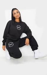 PRETTYLITTLETHING Black Circle Logo Sweatshirt 3