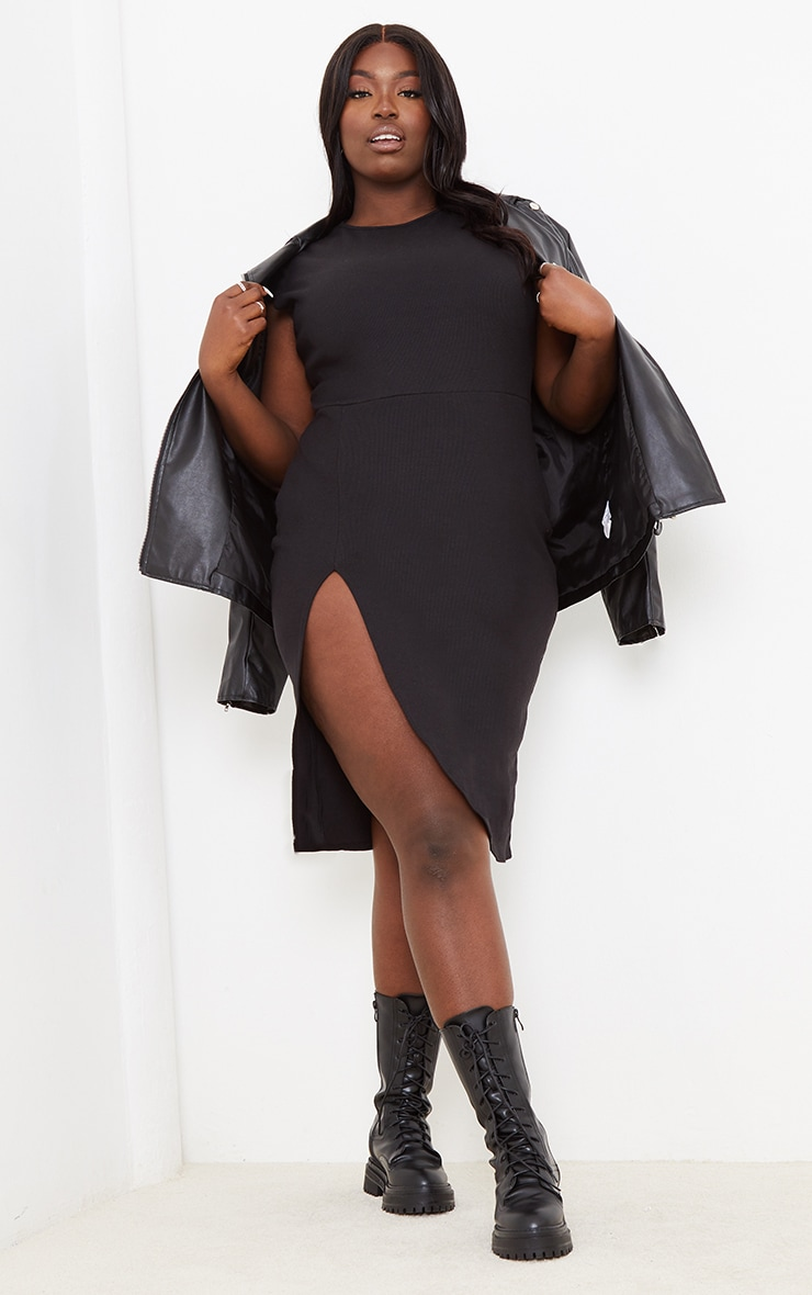 Plus Ribbed Black Extreme Split Cap Sleeve Midi Dress