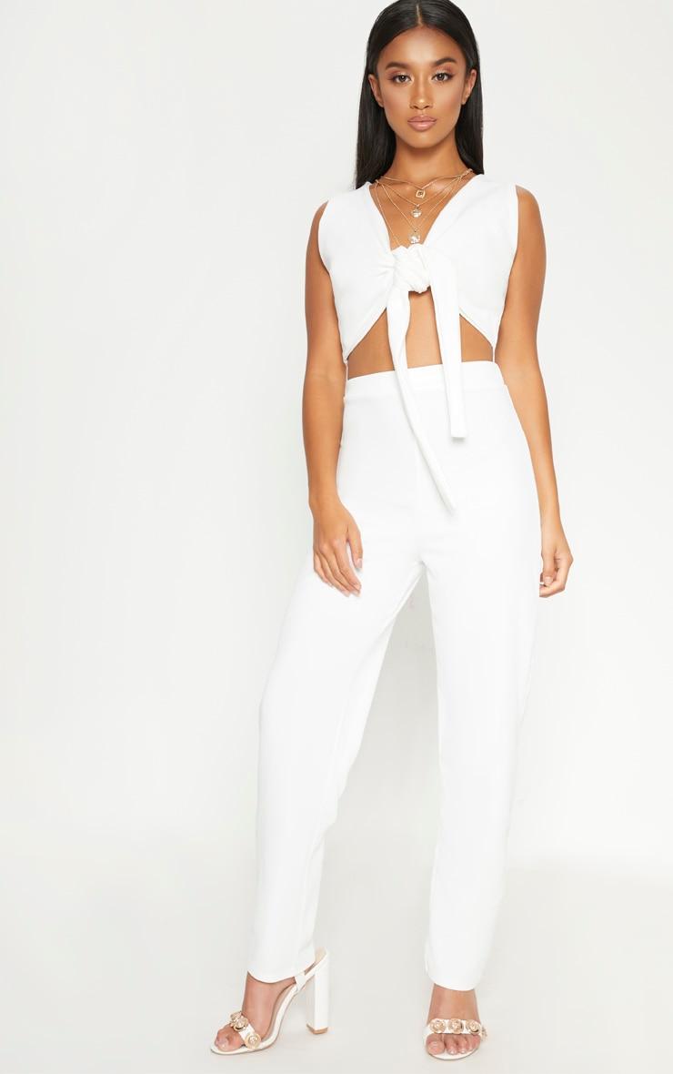 Petite White Tie Front Crop Top 4