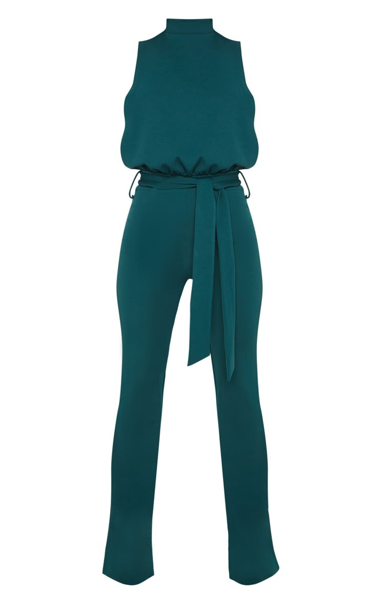 Petite Emerald Green Scuba High Neck Tie Waist Jumpsuit 3