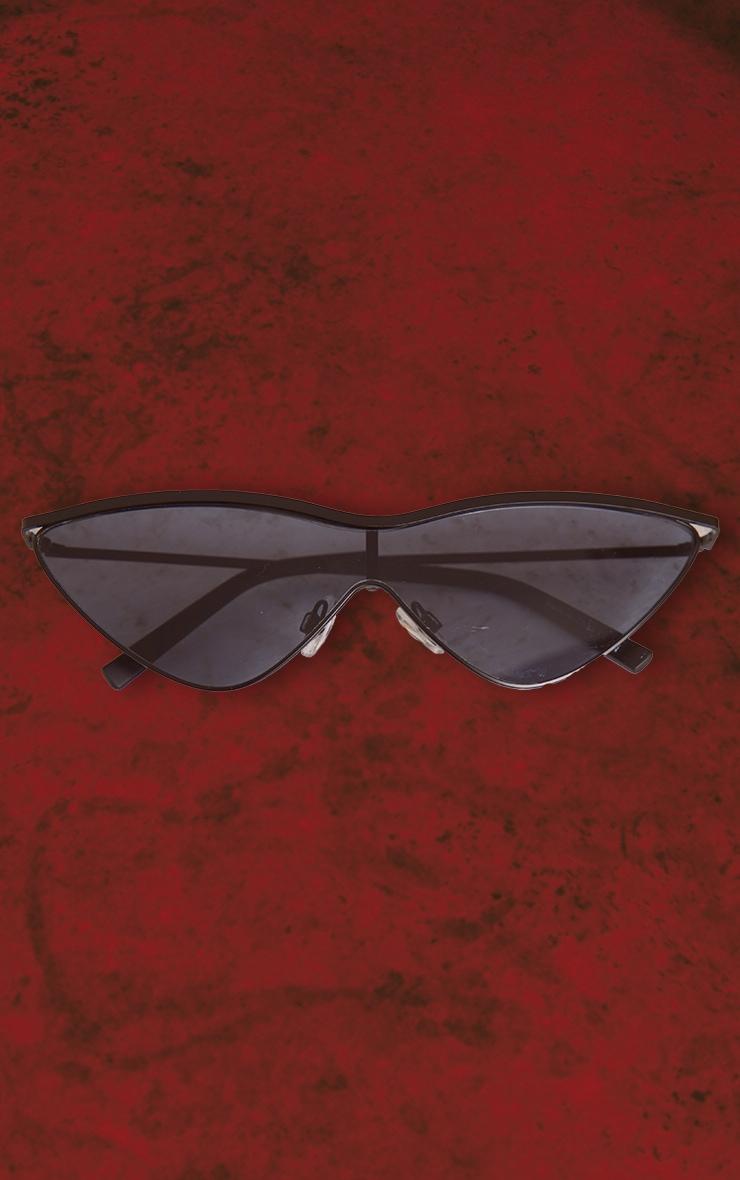 Black Metal Frame Slim Sunglasses 3