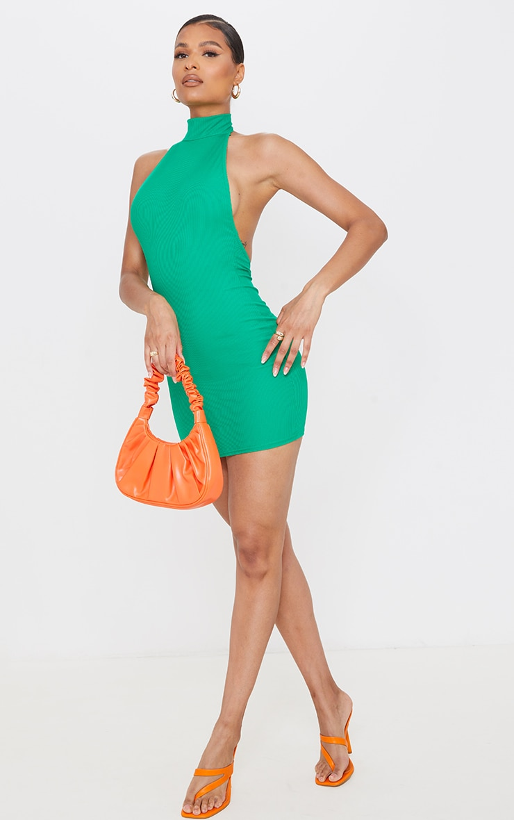 Green Ribbed High Neck Extreme Open Back Bodycon Dress 3