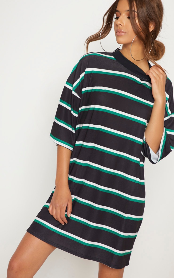 Black Stripe Oversized Boyfriend T Shirt Dress