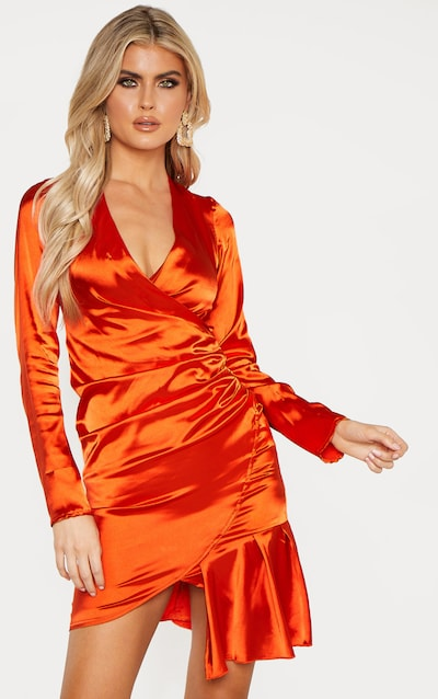 Orange Dresses Peach Burnt Orange Dresses Prettylittlething Ie