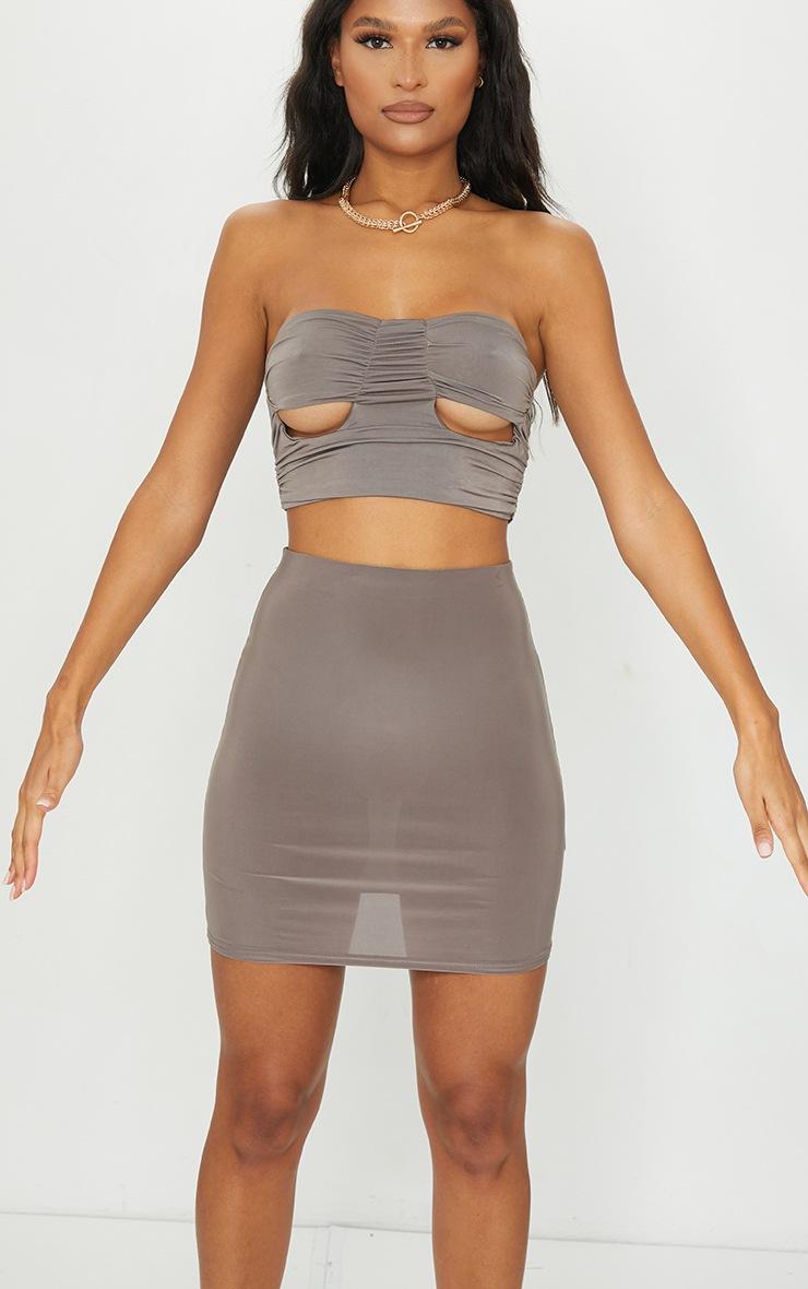 Mocha Slinky Bodycon Mini Skirt 5