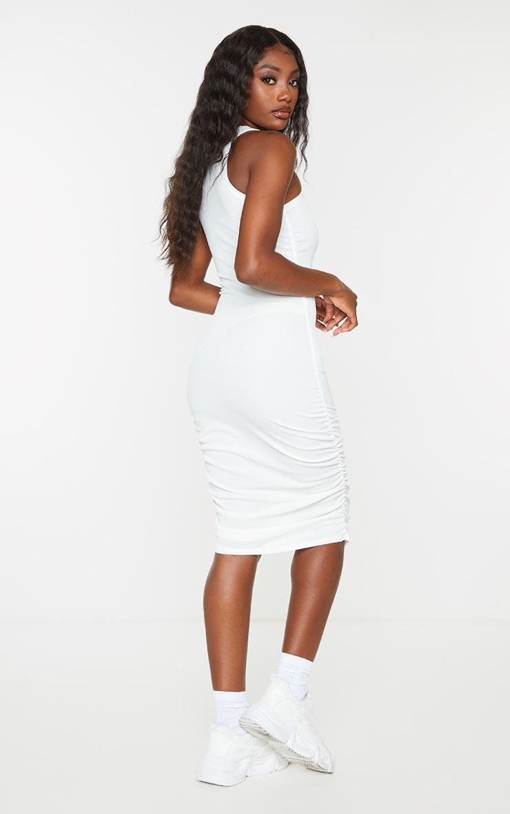Cream New Wave Printed Ruched Rib Bodycon Dress 2