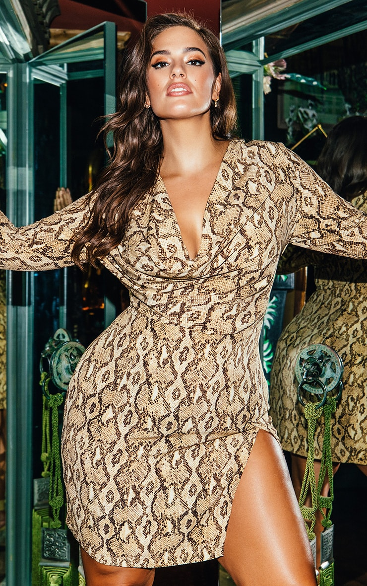 Beige Snake Print Cowl Neck Bodycon Dress 1