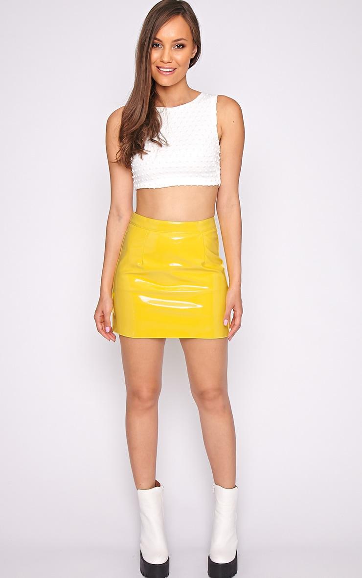 Daphne Yellow Pvc Mini Skirt