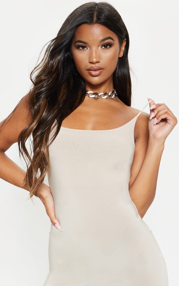 Stone Slinky Spaghetti Strap Bodycon Dress 5