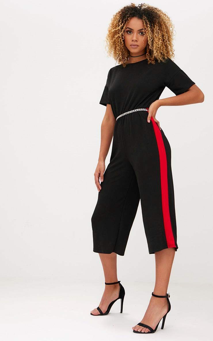 Black Contrast Cullotte Jumpsuit 1