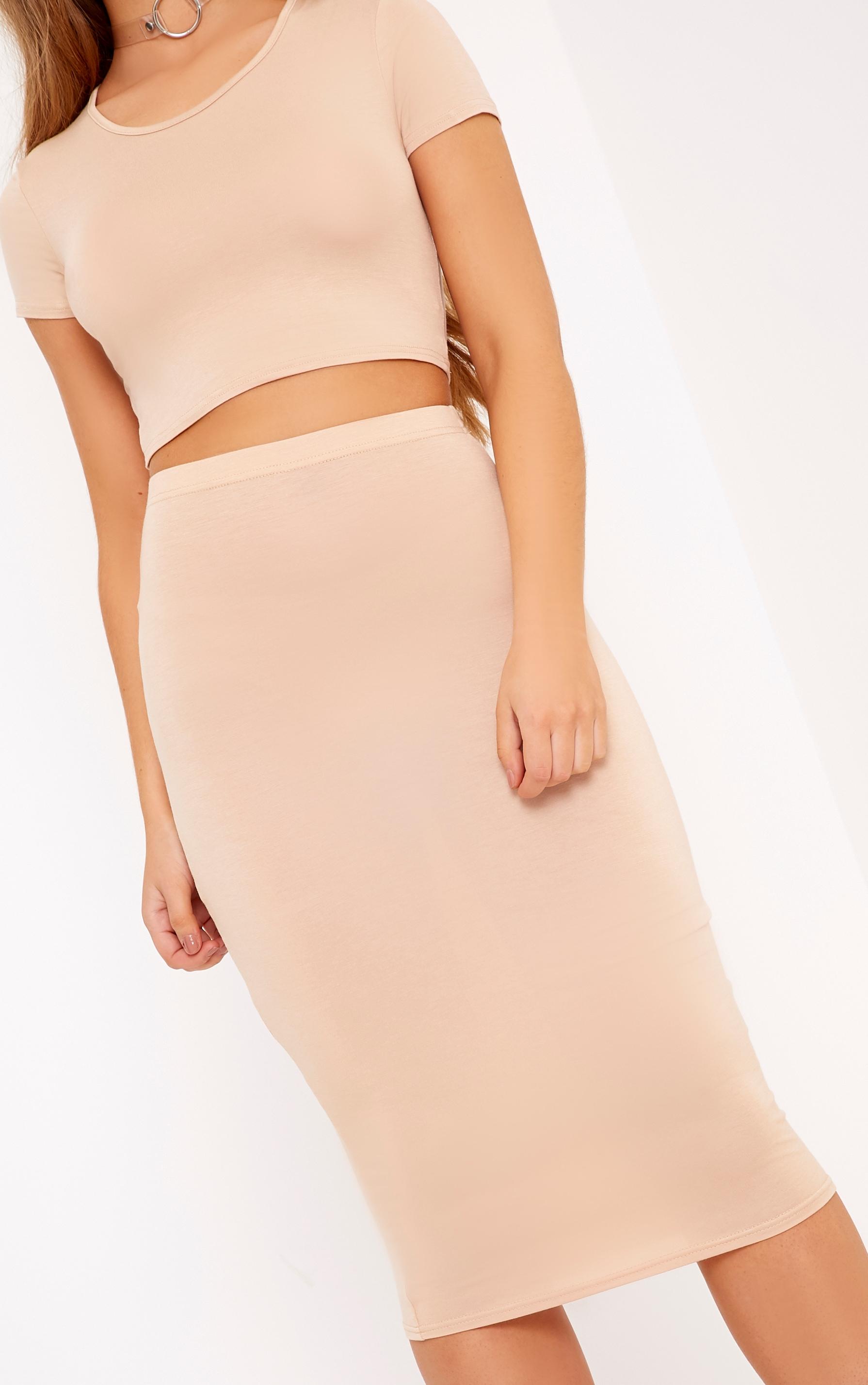 Anaceila Light Sand Jersey Top & Midi Skirt Set 5