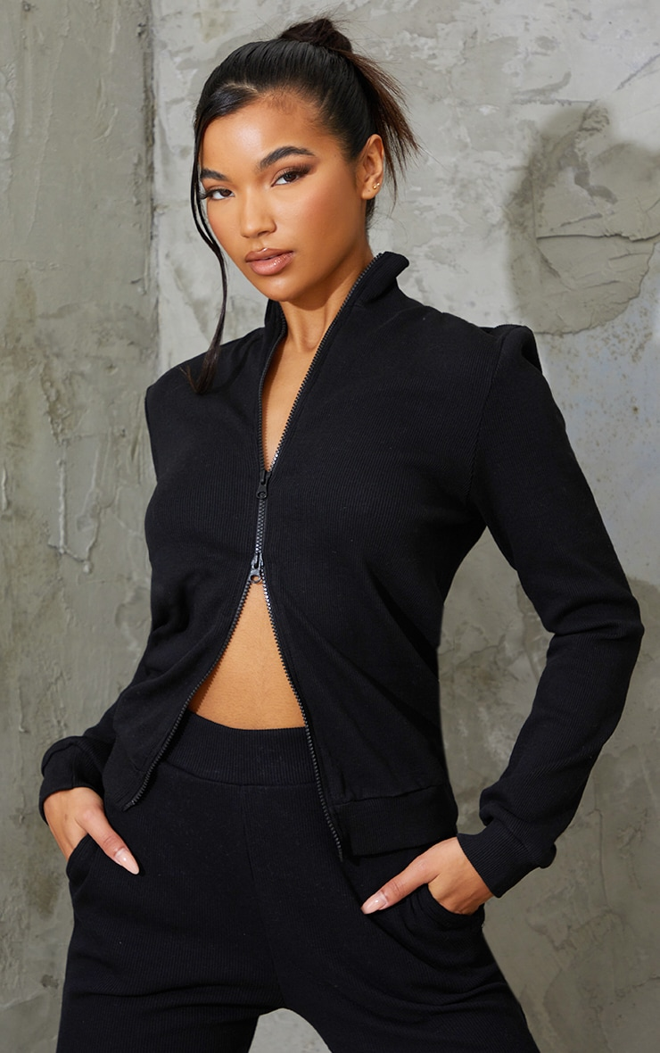 Black Heavy Ribbed Double Zip Front Funnel Neck Jacket 1