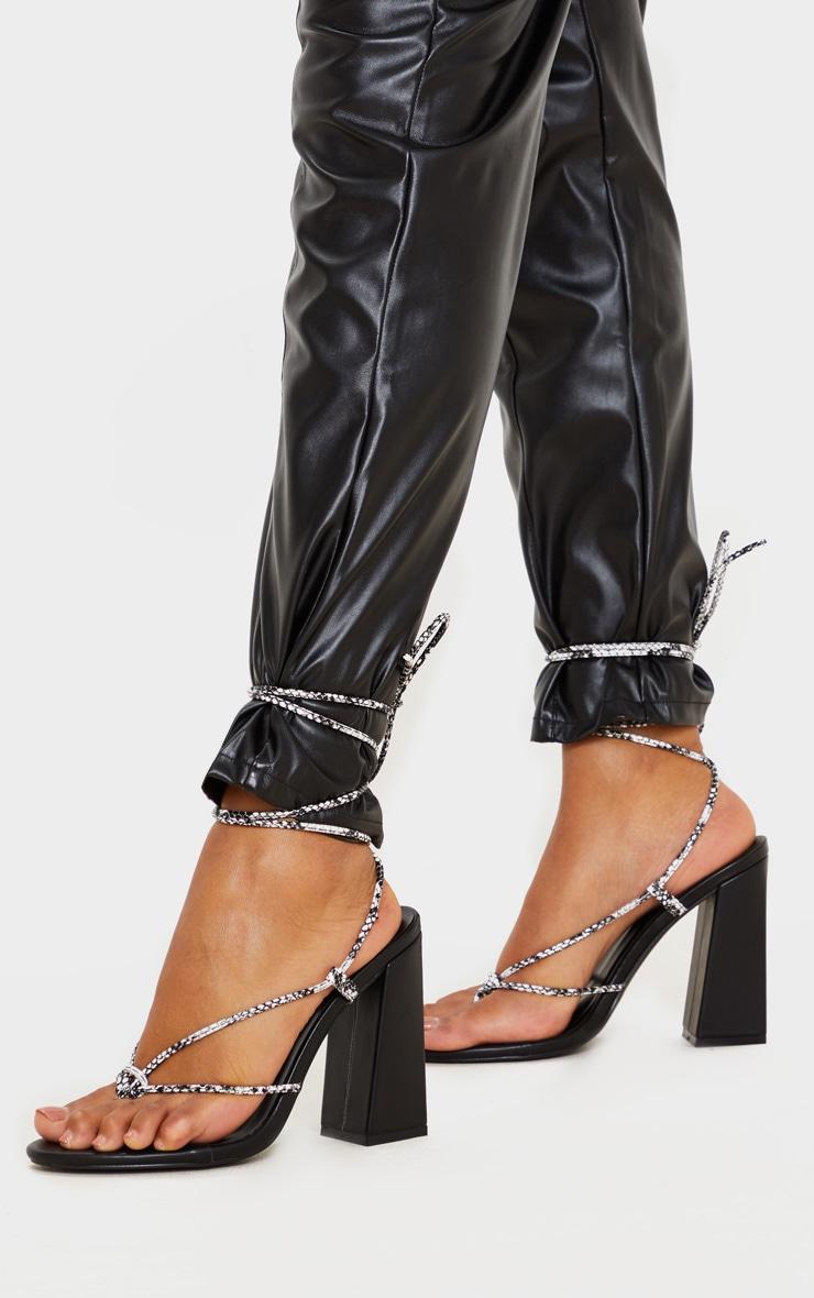 Black Snake Knot Toe Thong Strappy Block Heel Sandal 1