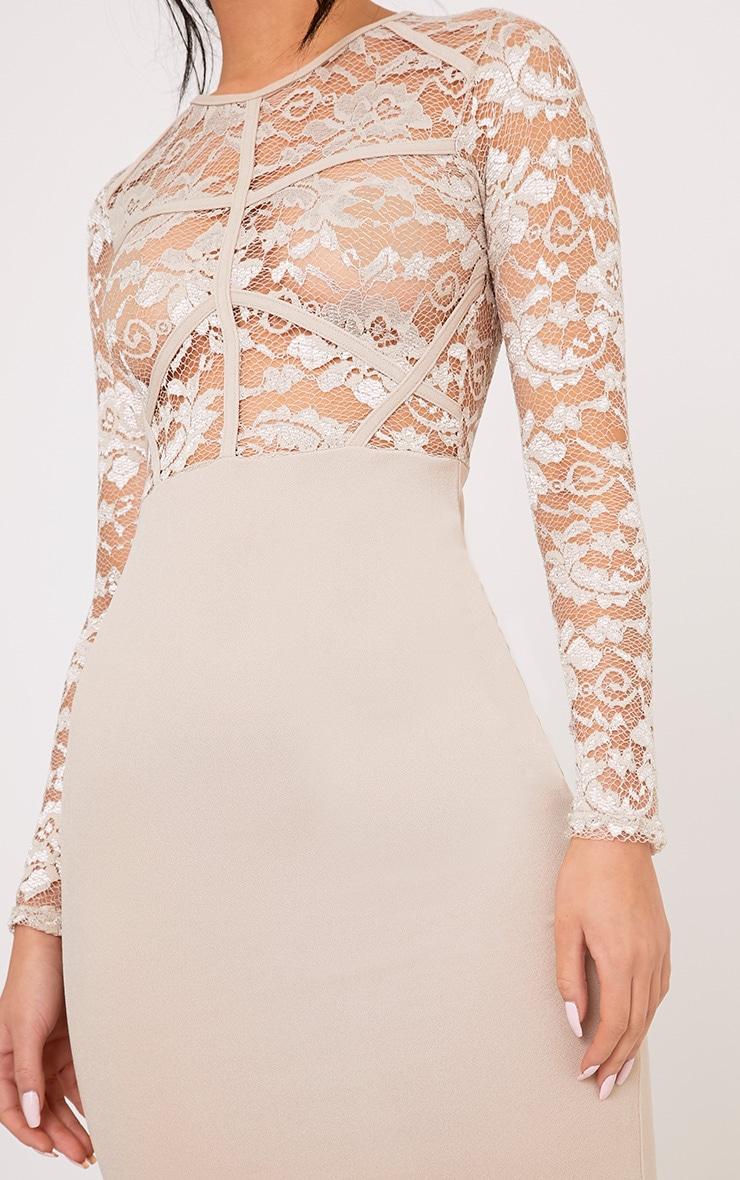 Aspen Nude sheer Lace Contrast Midi Dress 5