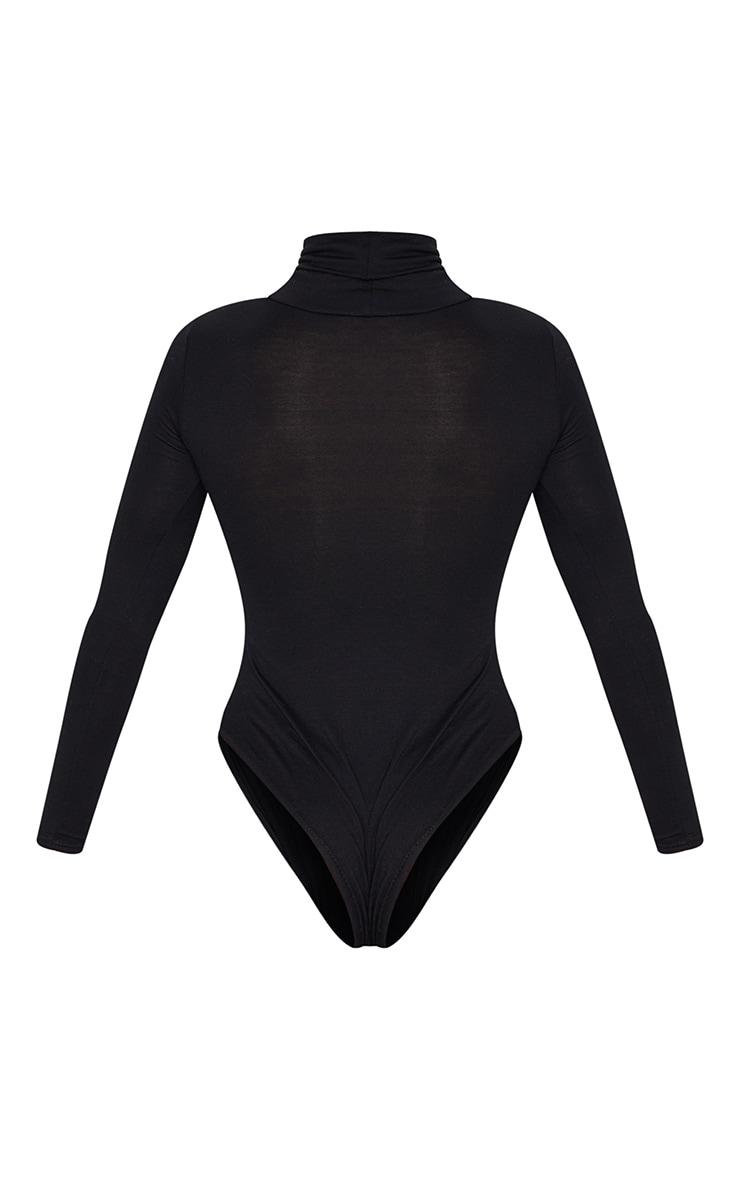 Black Roll Neck Long Sleeve Bodysuit 6