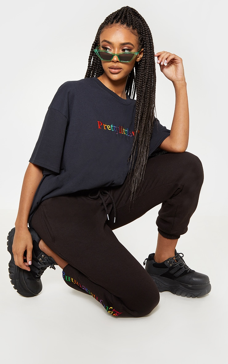 PRETTYLITTLETHING Multi Embroidered Black Oversized T Shirt 4