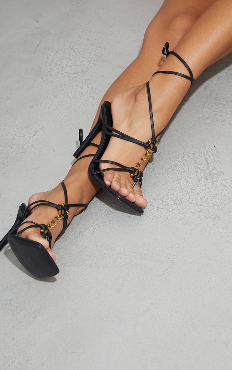 Black Wide Fit PU Chain Detail Toe Thong Lace Up High Heeled Sandals 2