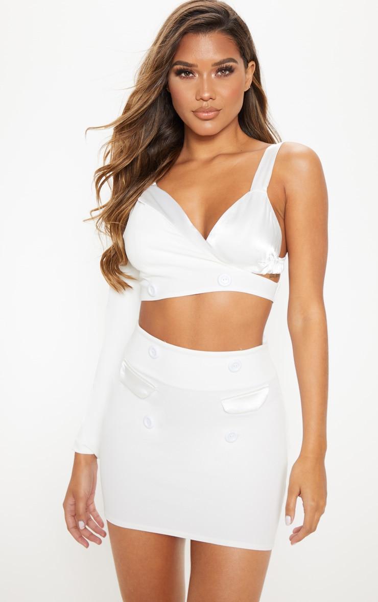 White High Waisted Button Detail Mini Skirt 5
