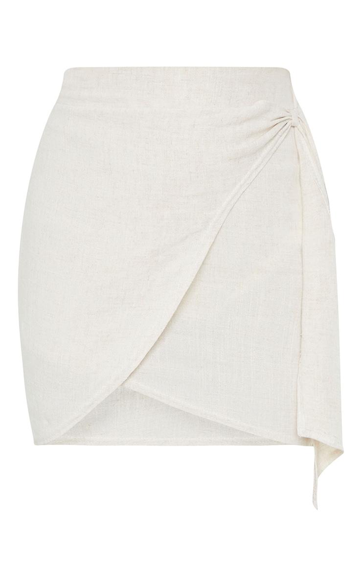 Stone Linen Look Wrap Skirt 5