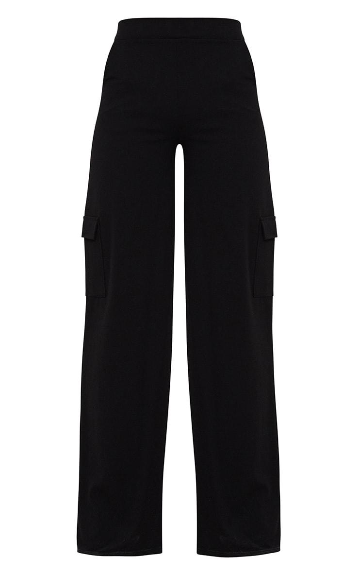 Black Crepe Wide Leg Pocket Trouser 3