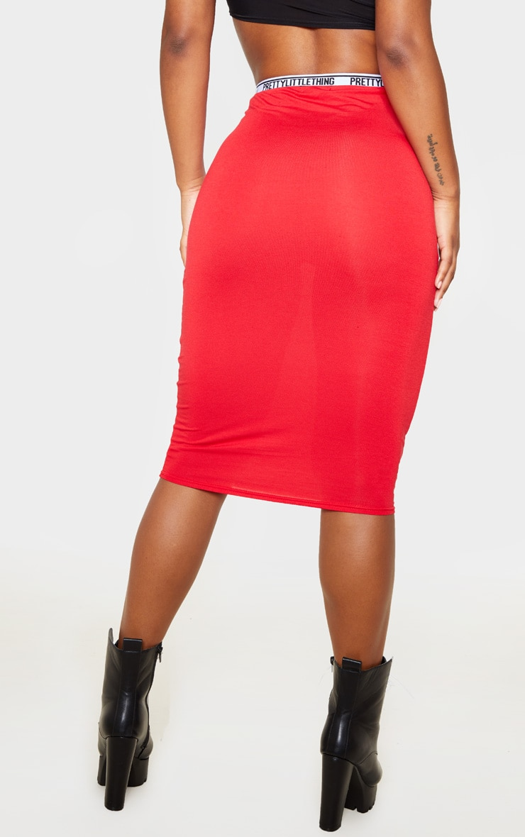 PRETTYLITTLETHING Red Tape Jersey Midi Skirt  4