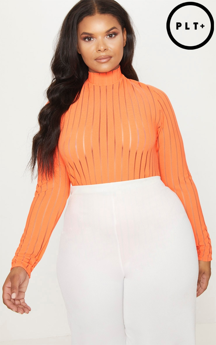 Plus Orange Burn Out Striped Mesh Bodysuit