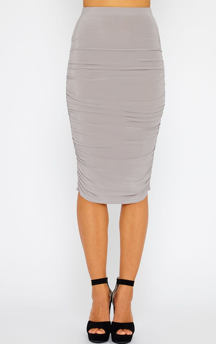 Saylor Grey Gathered Midi Skirt 5