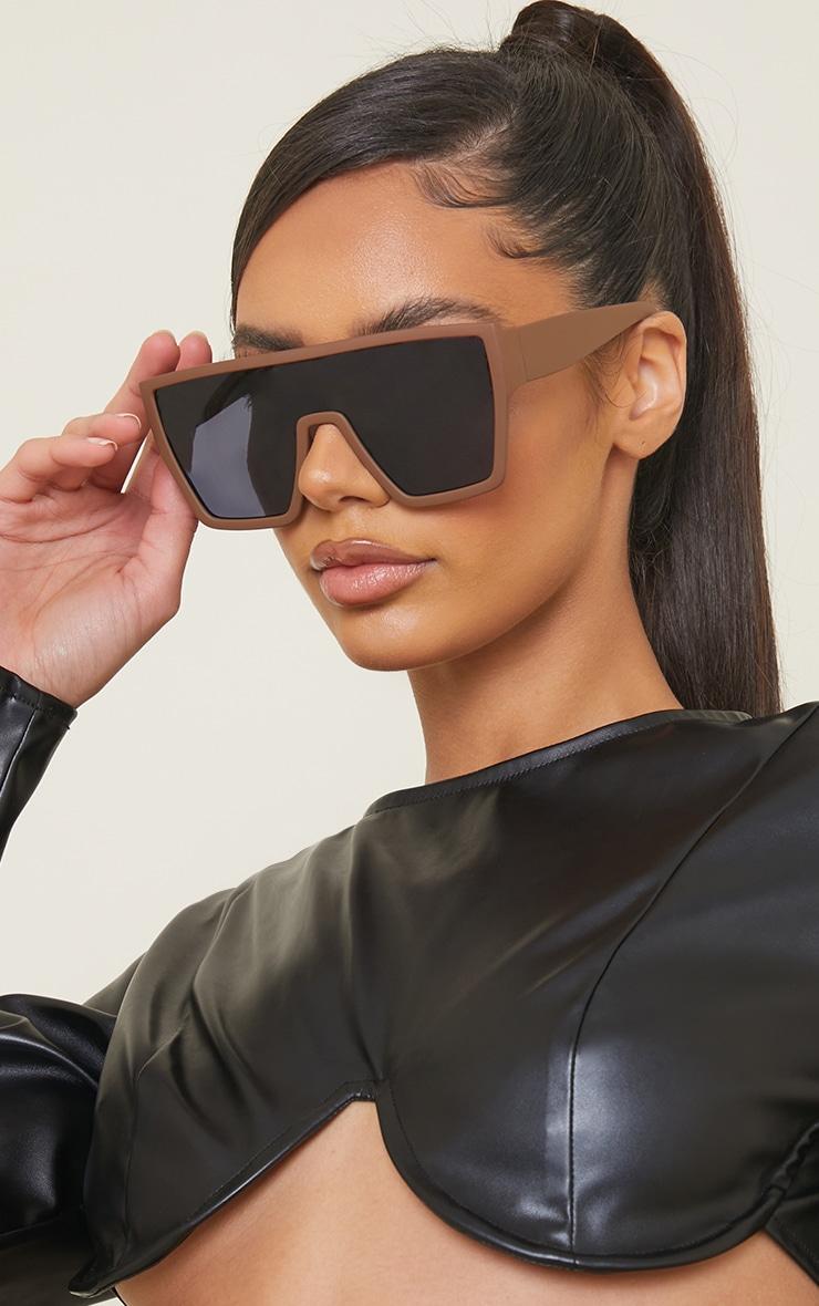 Chocolate Matte Oversized Square Frame Sunglasses 1