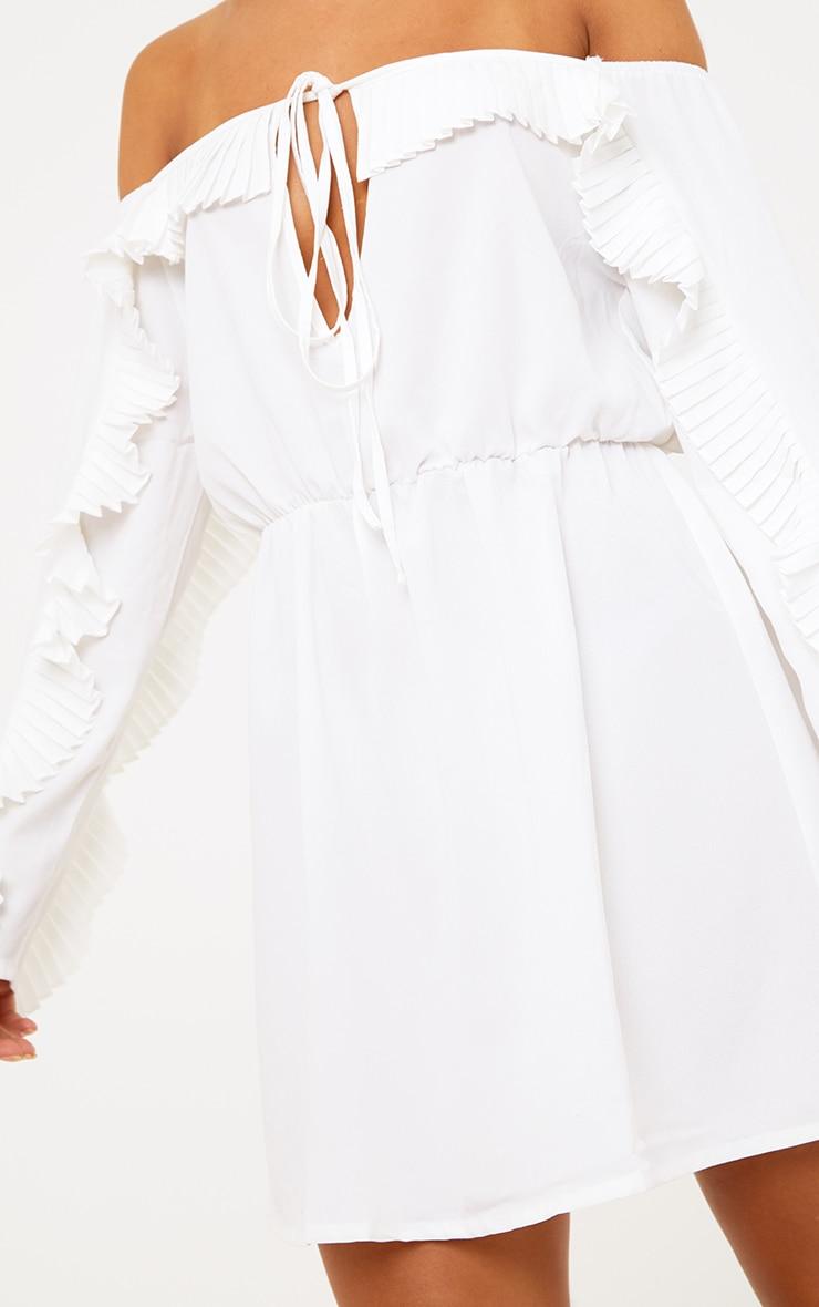 White Pleat Detail Ruched Waist Swing Dress 6
