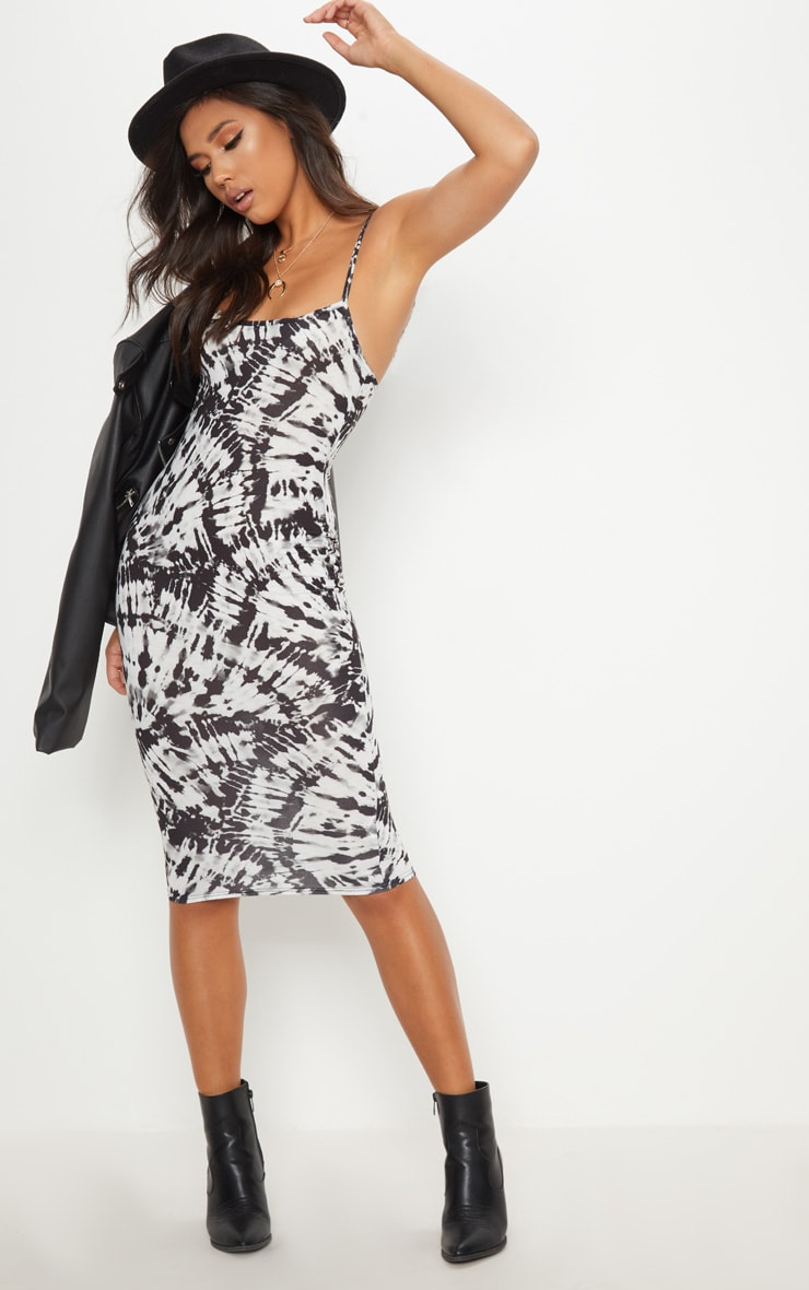 Monochrome Tie Dye Strappy Midi Dress