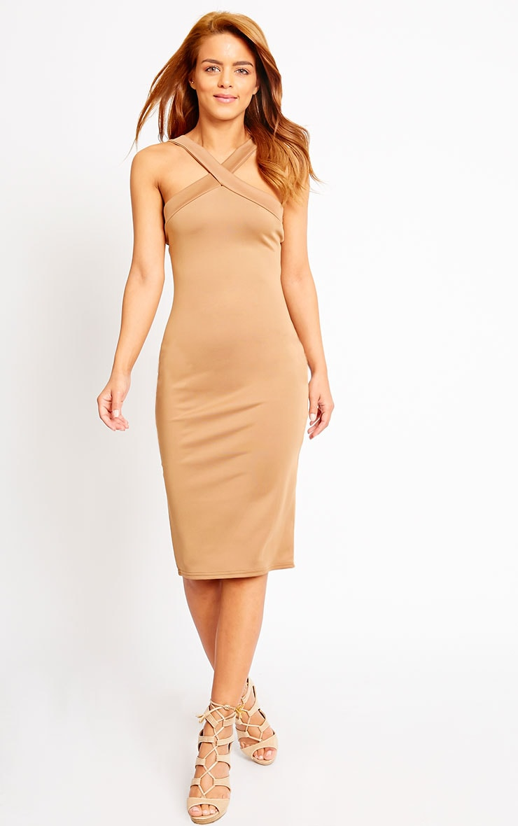 Melanie Camel Cross Front Midi Dress 3