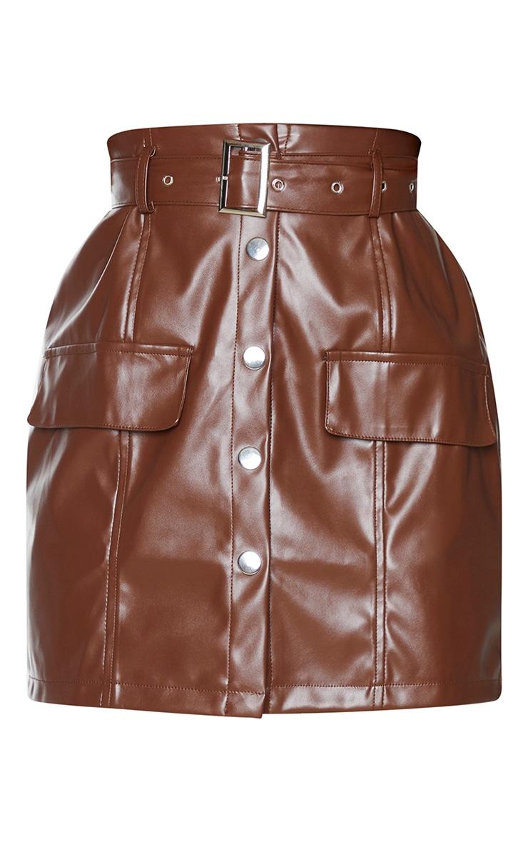 Chocolate Faux Leather Button Through Mini Skirt 6