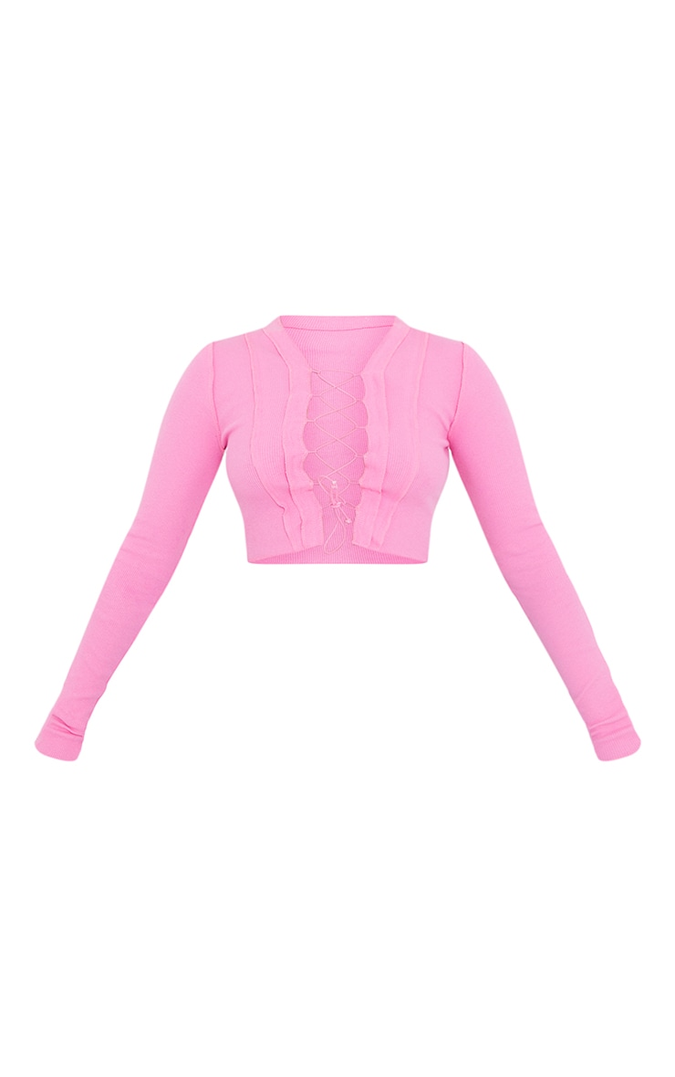 Petite Pink Ribbed Lace Up Long Sleeve Top 5