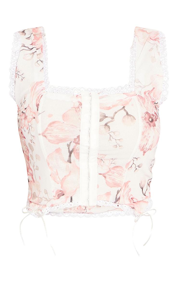White Woven Floral Lace Trim Corset Crop Top 5