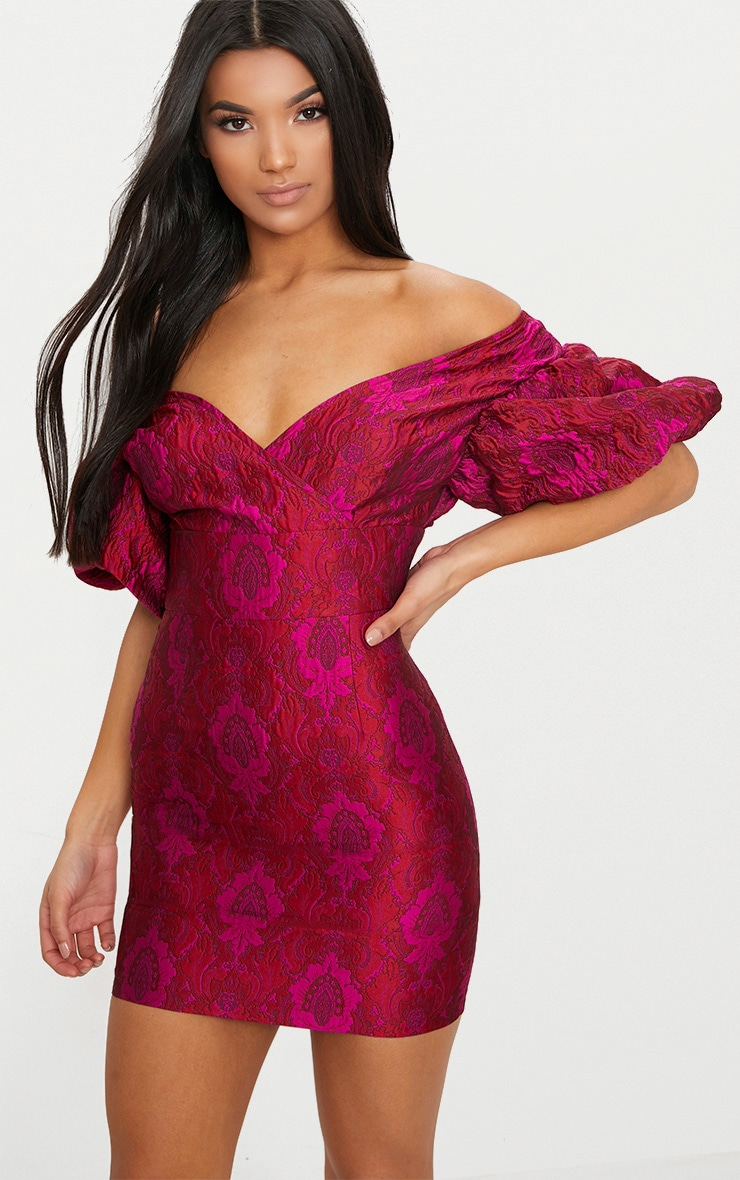 Fuchsia Pink Jacquard Puff Sleeve Plunge Bodycon Dress 1