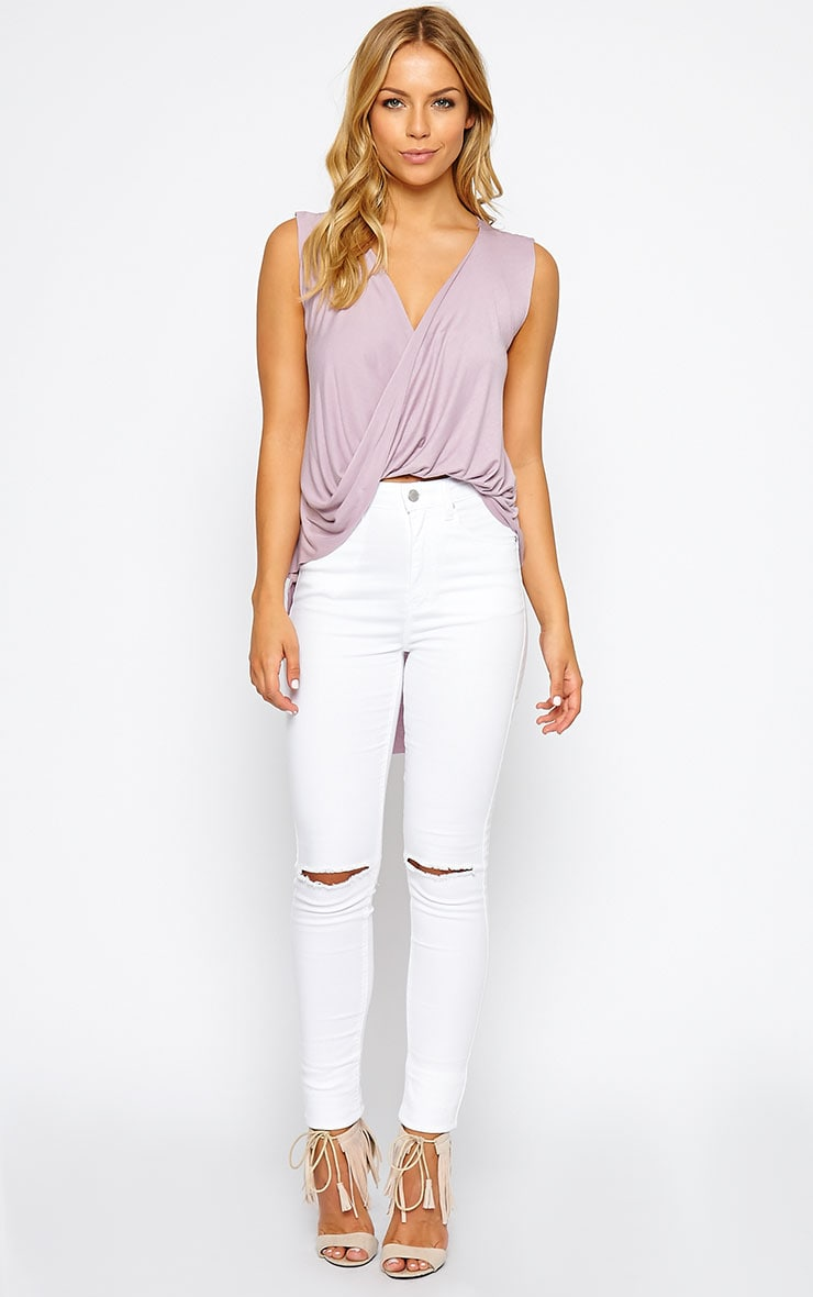 Jodeane Mauve Twist Front Sleeveless Top 3