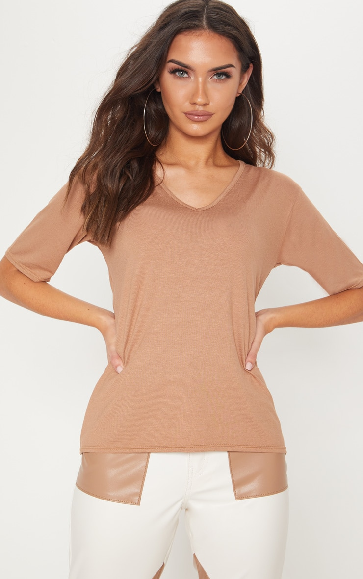 Basic Dark Camel V Neck T Shirt 4