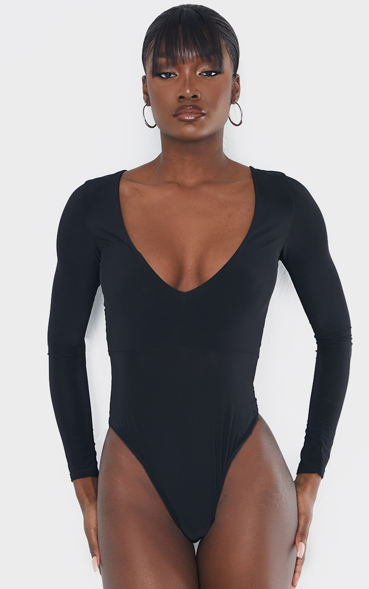 Tall Black Slinky Plunge Bodysuit 2