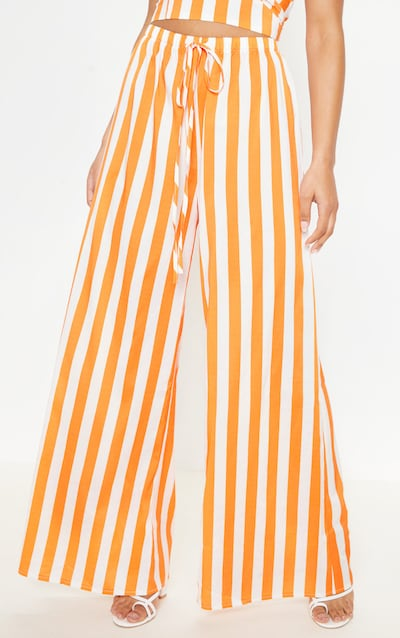 Bright Orange Stripe Wide Leg Trouser